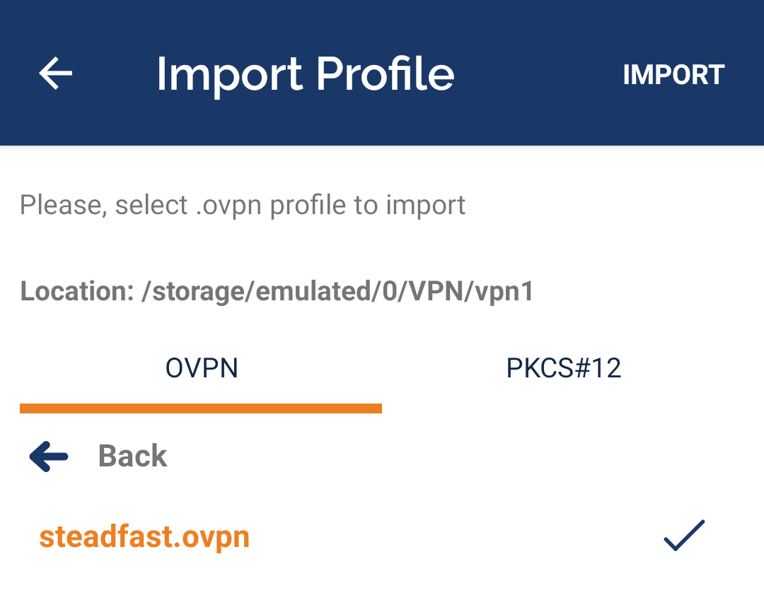 OpenVPN Connect Import Browse