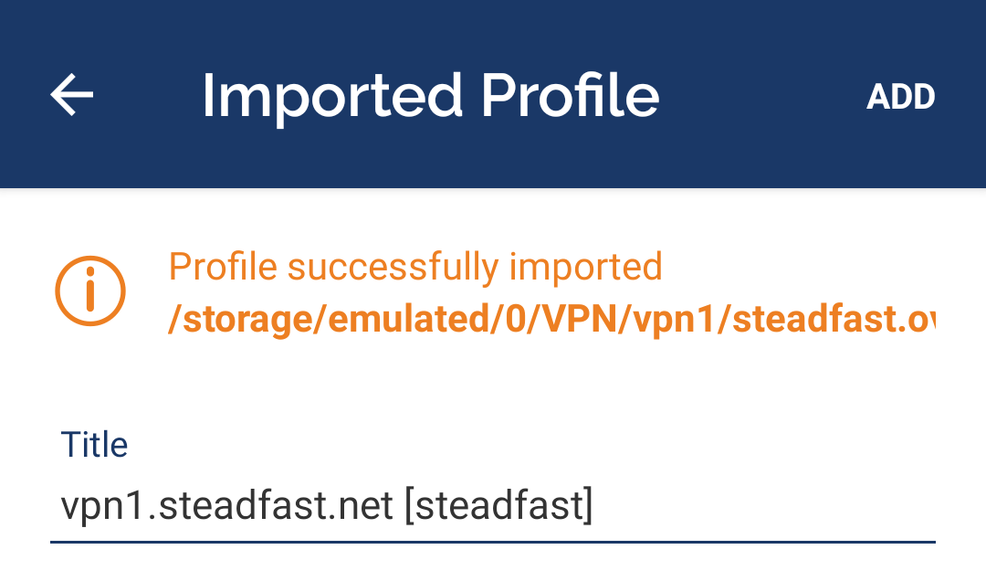 OpenVPN Connect Import Title